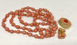JOAN RIVERS SIGNED NECKLACE CLIP EARRINGS OPTIONAL CLASP SET PEACH CORAL... - $64.35