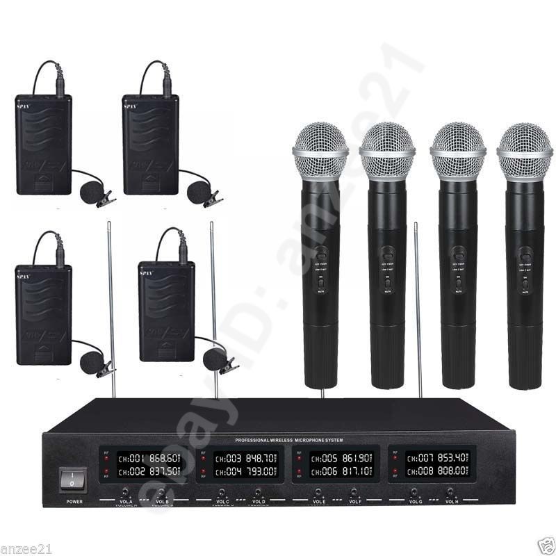 Pro A802 UHF 4 Handheld 4 Lavalier Talking Karaoke Wireless Microphones System for sale  USA