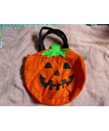 "Novelty Felt Jack-O-Lantern Trick Or Treat Bag Large 10 1/2"" w/Black Han... - $7.92"