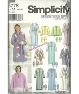 Simplicity Sewing Pattern 5778 Misses Womens Housecoat Robe Slippers XS ... - $9.99