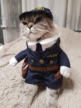 Cat Pet Dog Police Costume Funny Summer Party Outfit Apparel Suit Jumpsu... - $12.99