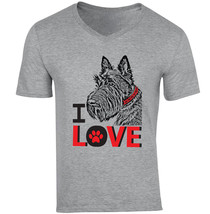 I Love Scottish Terrier - New Cotton Grey V-NECK Tshirt - $20.70