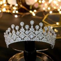 ASNORA  big Wedding Bride's Crown Elegant Zincons Hair Silver Tiaras Bri... - £79.16 GBP