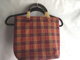 Susy Chen Plaid Tote Purse Handbag Lucite Handles Olive Rust Burgundy Ne... - $14.45