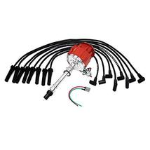 A-Team Performance HEI Distributor Red Cap w/SBC Under the Exhaust Spark Plug Wi