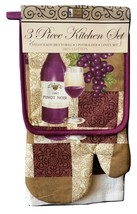 WINE KITCHEN SET 3-pc Towel Oven Mitt Potholder Purple Pinot Noir Grapes Design - $16.99