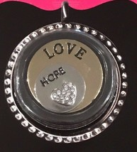 NEW In Package Story Lockets Charms 2 Piece Set Love & Hope Steel Plate ... - $7.49