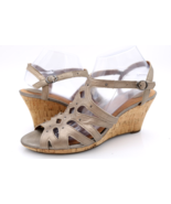 Clarks Womens 9.5M Gold Leather Artisan Strappy Buckle Wedge Sandals - $29.99