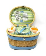 RARE Vintage ICE CREAM PICNIC BASKET Wicker Service for 6 by Redenvelope... - $157.91