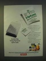 1990 Lipton Naturally Decaffeinated Tea Ad - Another way to bag - $14.99