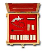 Key Ring BERLOQUE pinfire gun flintlock caps pistol Complete Set WOOD Bo... - $130.00
