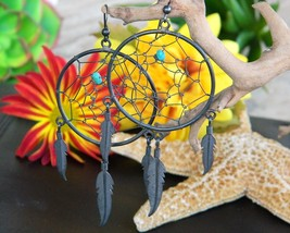 Dreamcatcher Earrings Turquoise Pierced Dangles Twisted Wire Feathers - $17.95