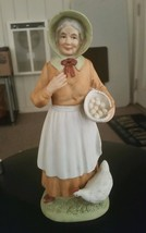 Homco 1426 Woman w Eggs in Basket & Chicken Old Ceramic Figurine Collect... - $9.40