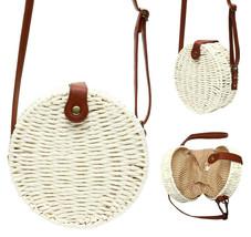 Women's White Vegan Bohemian Woven Handbag Wicker Canteen Lined Boho Chic Purse image 1