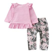 2pcs Merry Chirstmas Baby Girls Clothes Set Floral Print Long Sleeve Ruffle Tops image 5