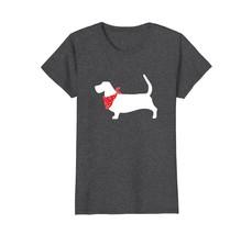 Basset Hound Wearing Red Bandana Dog Silhouette T-Shirt - $19.99+