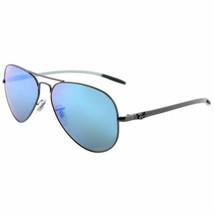 Ray ban RB8317CH 029/A1 Matt Gunmetal Aviator Sonnenbrille Blau Flash Chromance - $178.97