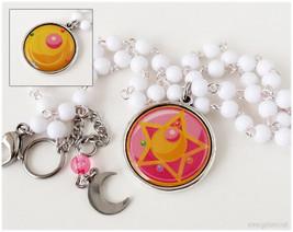 Sailor Moon, Henshin Brooch Necklace, Reversible Pendant, Beaded Chain, ... - $25.00