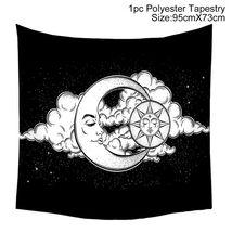 Art Tapestry Wall Hanging Mandala Pattern Tapestry: cloudy sun moon - $10.69