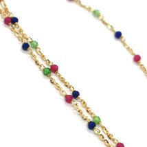 18K YELLOW GOLD NECKLACE, BLUE RED AND GREEN FACETED CUBIC ZIRCONIA, ROLO CHAIN image 2