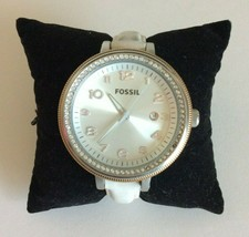 Fossil Womens Bridgette Watch Pave Silver Gold Tone White Leather Band A... - $24.74