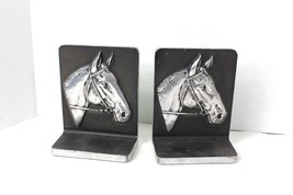 Vintage 70s Set of 2 Pewter Horse Library Bookends Book Ends Horses Silver - $66.28