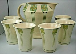 """Roseville Pottery """"Conventional"""" Pattern Lemonade Set with Secessionist ... - $237.50"""