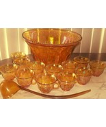 Indiana Glass Gold Carnival Harvest Princess Grape Punch Bowl & Cup Set - $112.20
