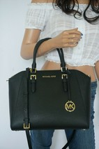 MICHAEL KORS CIARA LARGE SATCHEL SAFFIANO LEATHER SHOULDER BAG BLACK - $107.90