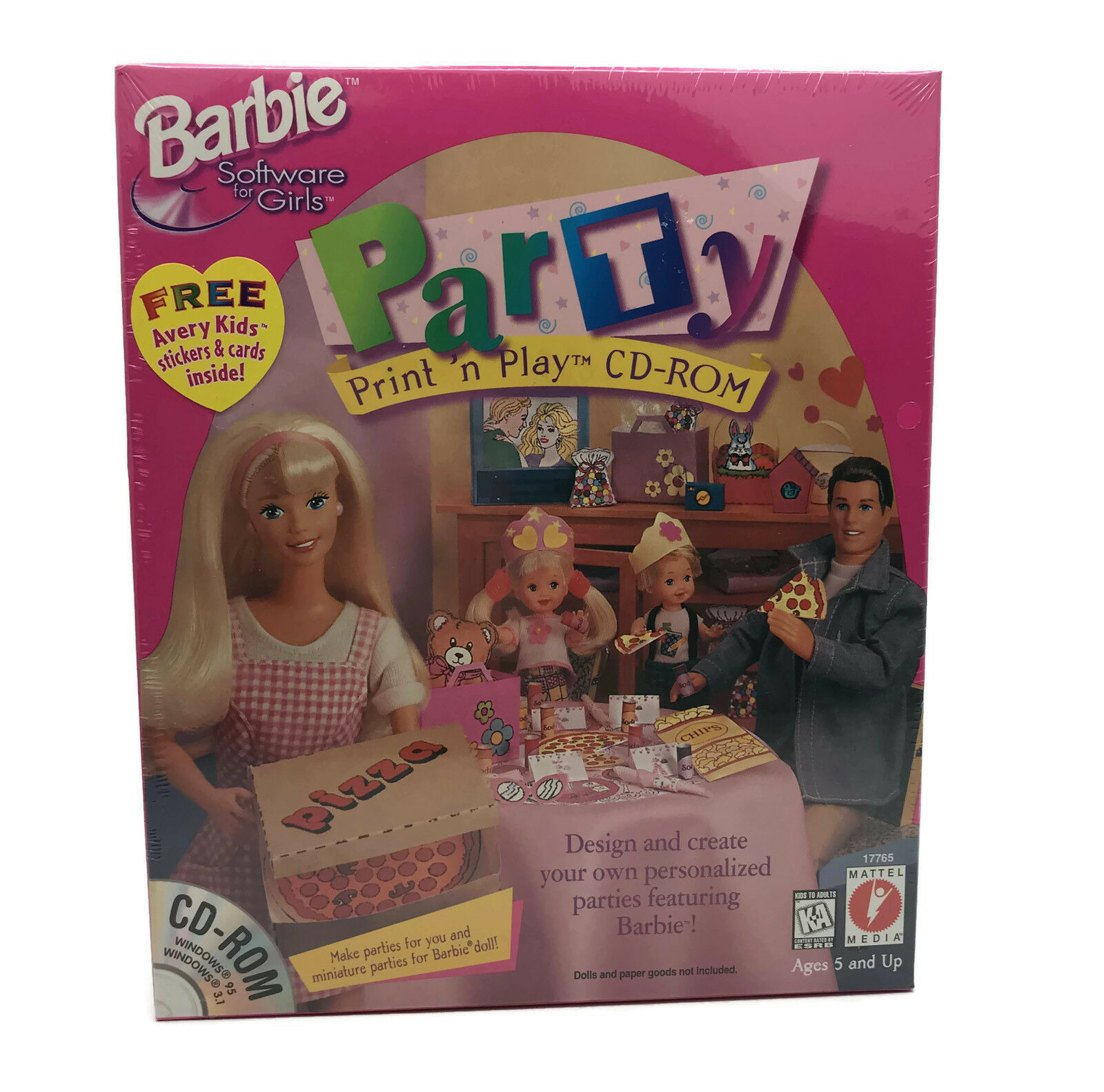Vintage 1997 Barbie Party Print 'n Play CD-ROM PC Game Mattel For Windows 95/98 - $14.03
