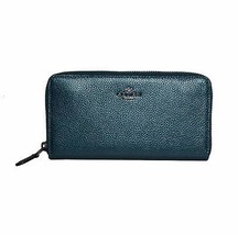 Coach 20145 Metallic Teal Pebbled Leather Zip Around Continental Wallet - $119.50