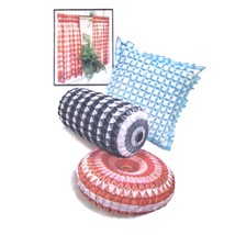 Vtg 60s Simplicity 4679 Pillow Smocked Round Square Bolster 1 Inch Gingham FF - $8.95