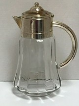 Glass Water Pitcher Wine Claret with Silver Plated Lid & Handle w/ Ice I... - $89.09