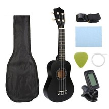Guitar Combo Black Soprano Ukulele Bass Guitar Musical Instrument Set New - $46.71