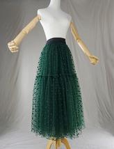 DARK GREEN Tutu Skirt Women Midi Tutu Skirt Dark Green Dot Party Skirt Plus Size image 6