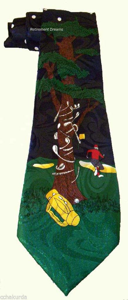 FRATELLO Men SILK Necktie Tie Angry Golfer Tree Club