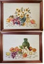 2 Framed Finished Needlepoint Flowers Floral Fruit Pictures FREE SHIPPING - $49.99