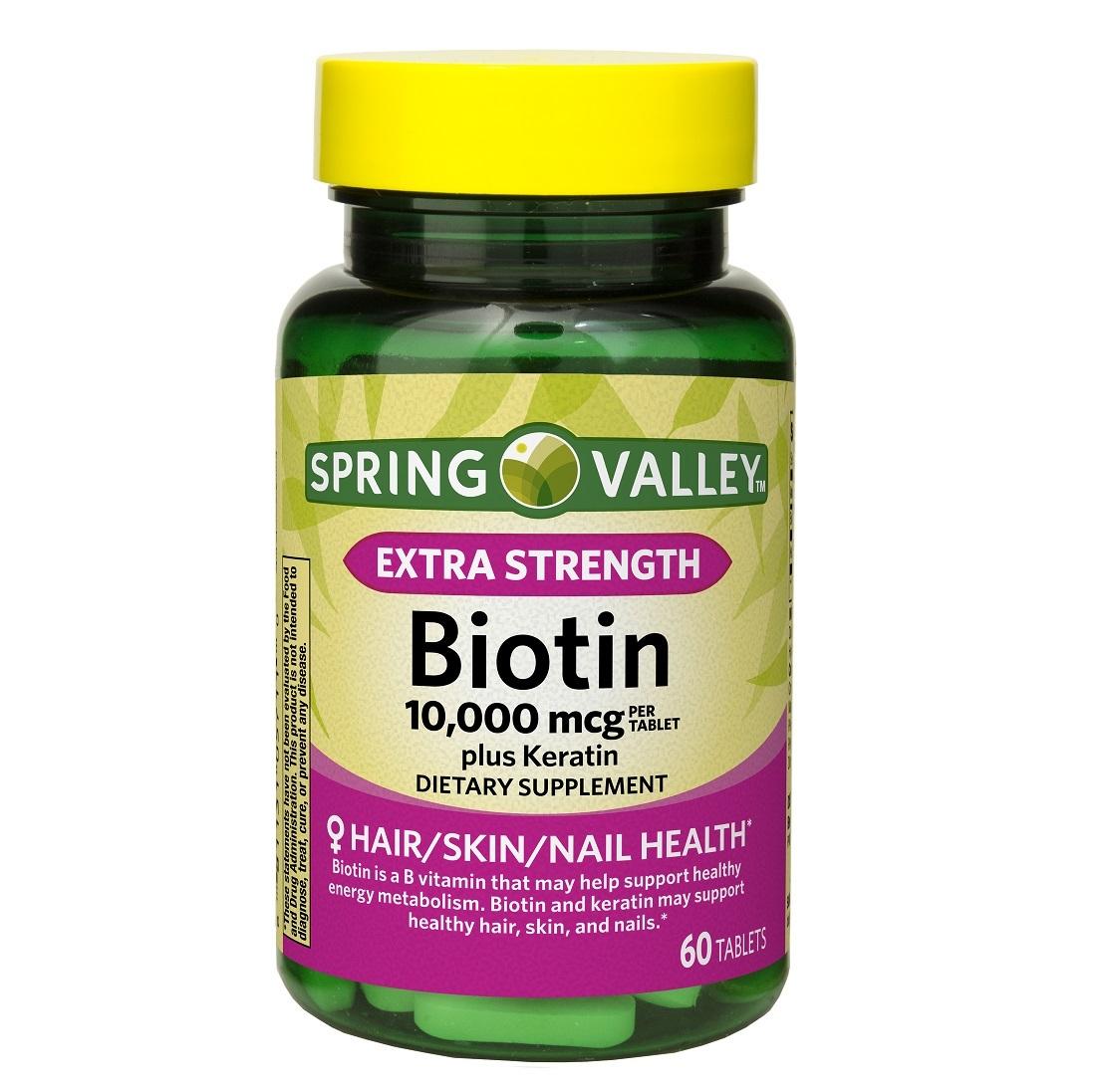 Spring Valley Extra Strength Biotin Plus Keratin Tablets 10000 mcg 60 Count - $15.90