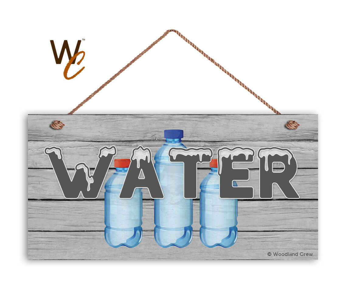 WATER Sign, Retro Summer Party Sign, Potluck Event, Gray 5x10 Wood Sign