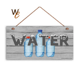 WATER Sign, Retro Summer Party Sign, Potluck Event, Gray 5x10 Wood Sign - $11.39