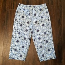 Women's Talbots Casual Capri Pants ~ Blue ~ Sz 6 Petite ~ Stretch ~ Cott... - $14.84