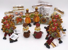 Lot of 22 Fall Thanksgiving Decor Scarecrows Birds Rocks w/ Gold Glitter... - $62.99