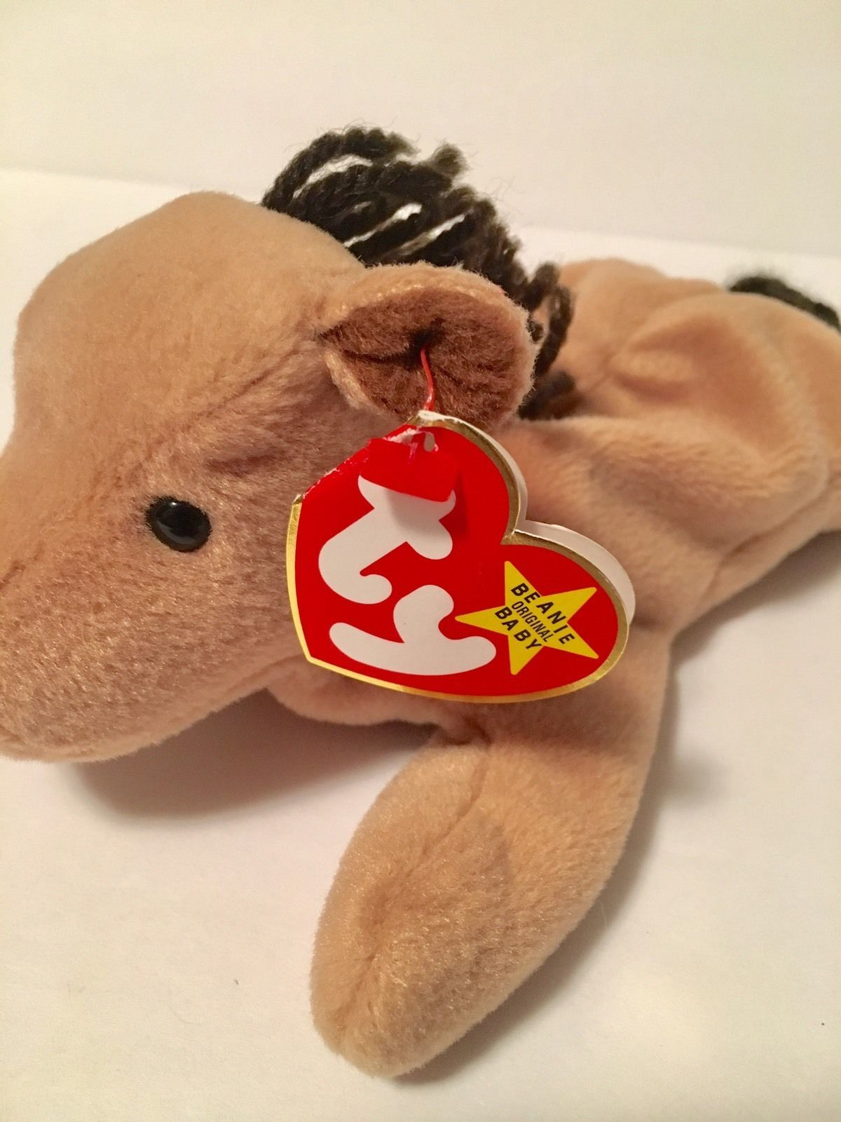 Ty Beanie Babies Plush Beanbag Derby the Horse Brown with Yarn Mane
