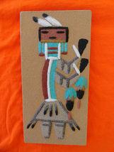 Original Navajo Rainbow People Design Flat Sand Painting Artist Signed - $24.59