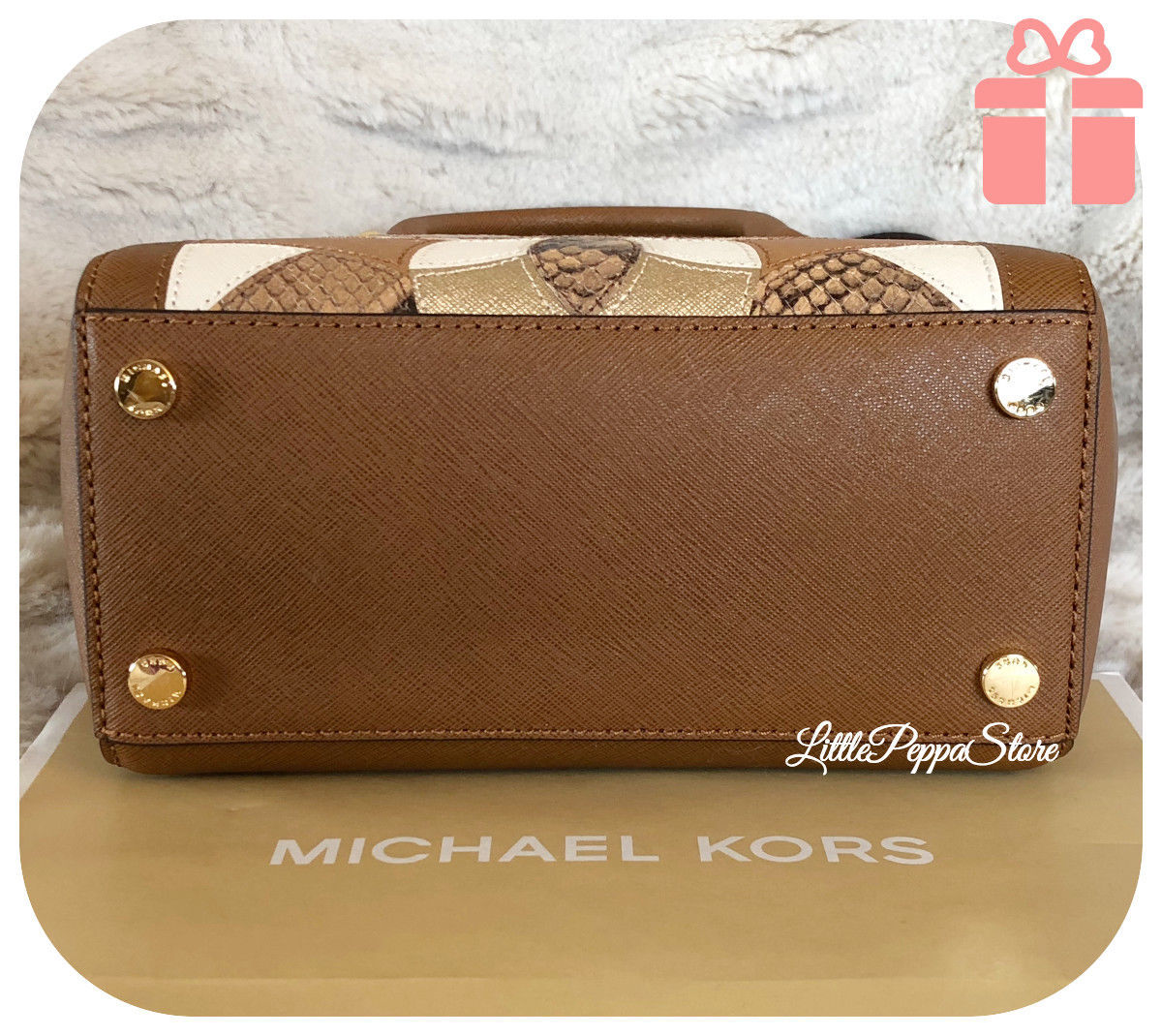 498b8845e9 ... NWT MICHAEL KORS PATCHES LEATHER SANDRINE STUD SMALL CROSSBODY BAG IN  LUGGAGE ...