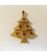Christmas Tree Pin Brooch Vintage Rhinestones Textured Gold Metal Signed... - $30.00
