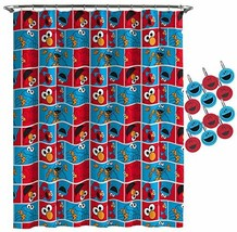 Jay Franco Sesame Street Elmo Cookie Squares Shower Curtain & 12-Piece H... - $36.00