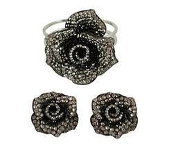 Anthony David Black, Pewter & Silver Rose Crystal Bracelet & Earring Set - $19.99