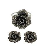 Anthony David Black, Pewter & Silver Rose Crystal Bracelet & Earring Set - $22.76