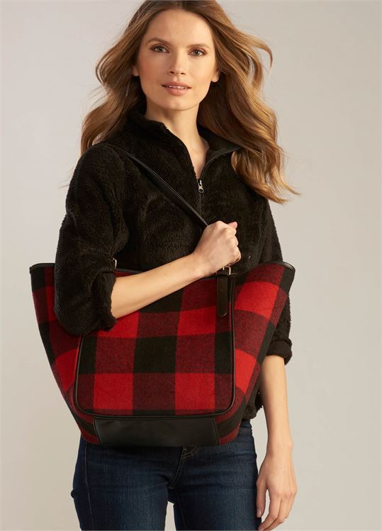 Black and Red Plaid Tote Bag w Solid Black Straps-Black Faux Leather Accents